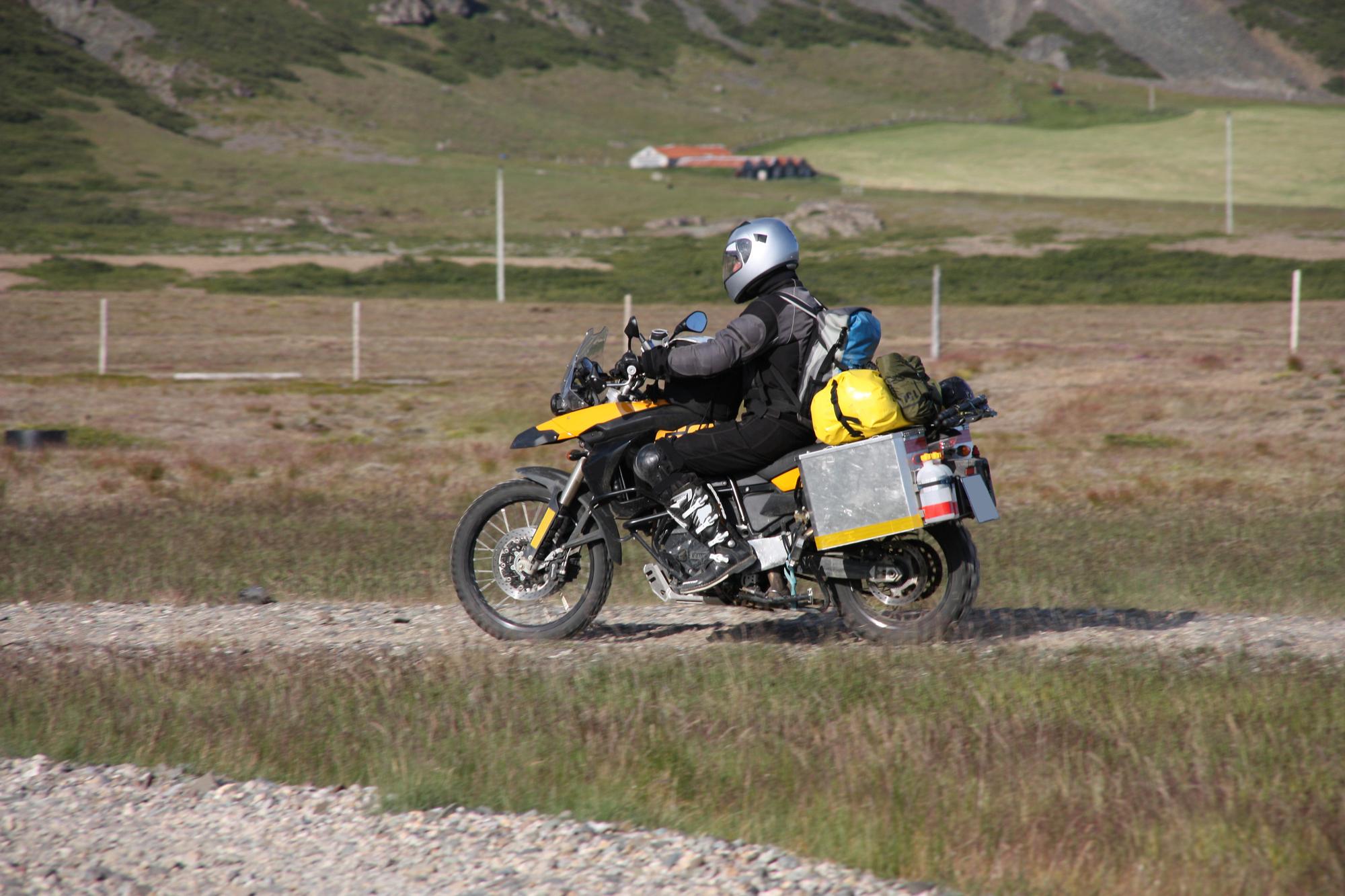 Motorcycle adventure in Iceland. Off-road biking. Traveling by motorbike.